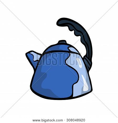 Blue Color Metal Kettle With Whistle And Black Handle