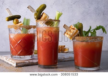 Bloody Mary Cocktail With Tomato Juice And Pickles