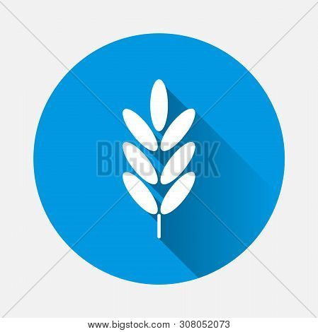 Ears Of Wheat, Cereal Vector Icon. Ear Of Oats. Rye Ears With A Flat Shadow. Layers Grouped For Easy