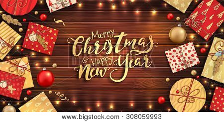Merry Christmas And Happy New Year Banner With Christmas Decoration: Colorful Balls, Red And Gold Gi