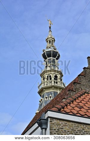 Stadhuis Museum In Zierikzee On Zeeland / Netherlands With Blue Sky And Copy Space