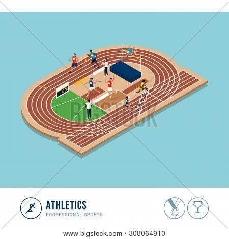 Professional Sports Competition: Athletics, Professional Athletes Performing Together