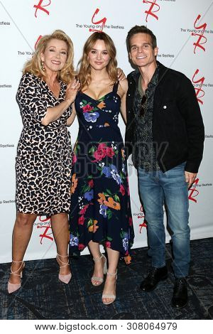 LOS ANGELES - JUN 23:  Melody Thomas Scott, Hunter King, Greg Rikaart at the Young and The Restless Fan Club Luncheon at the Marriott Burbank Convention Center on June 23, 2019 in Burbank, CA