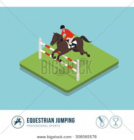 Professional Sports Competition: Equestrian Horse Riding With Fence