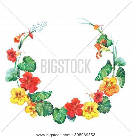 Watercolor Round Frame Template With Nasturtium Flowers