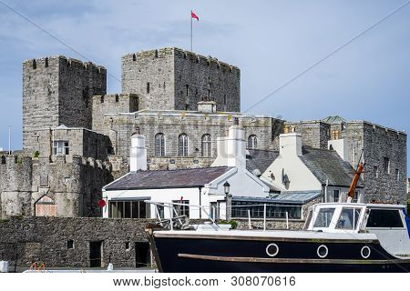 Castletown, Isle Of Man, June 16, 2019. Castle Rushen Is A Medieval Castle Located In The Isle Of Ma