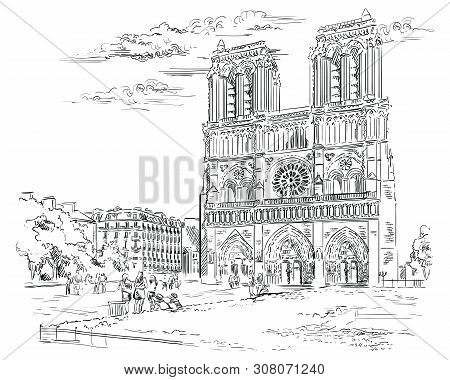 Vector Hand Drawing Illustration Of Notre Dame Cathedral (paris, France). Landmark Of Paris. Citysca