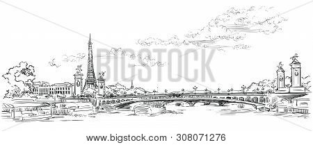 Vector Hand Drawing Illustration Of Eiffel Tower (paris, France). Landmark Of Paris. Panoramic Citys
