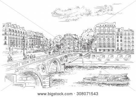 Vector Hand Drawing Illustration Of Pont Saint Michel Bridge (paris, France). Landmark Of Paris. Cit