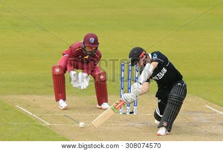 MANCHESTER, ENGLAND. 22 JUNE 2019:   The West Indies v New Zealand, ICC Cricket World Cup match, at Old Trafford, Manchester, England.