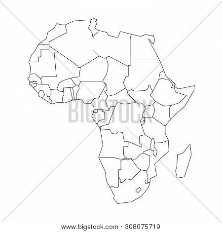Political Map Of Africa. Simplified Black Wireframe Outline. Vector Illustration