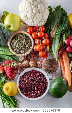 Top View Of Selected Clean And Healthy Foods