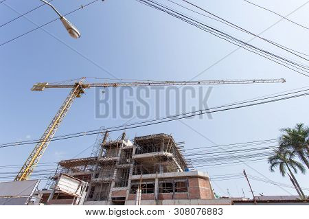 poster of Double exposure investment. building a house or construction building, property, investment, property, saving. Finance and Investment concept. Money management, High-rise buildings for renters.