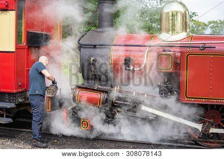 Castletown, Isle Of Man, June 16, 2019. The Isle Of Man Railway Is A Narrow Gauge Steam-operated Rai