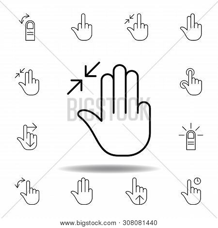 Three Fingers In Resize Gesture Outline Icon. Set Of Hand Gesturies Illustration. Signs And Symbols