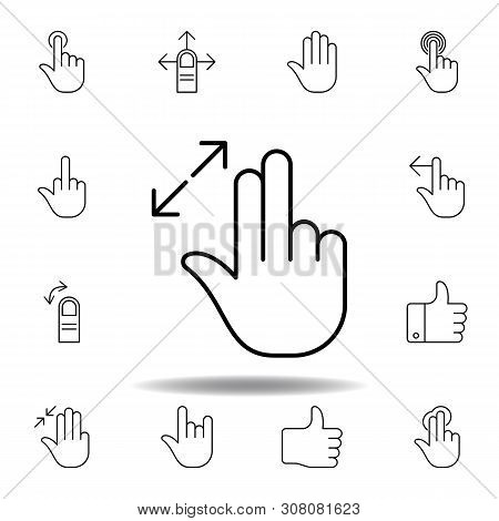 Fingers Resize Out Gesture Outline Icon. Set Of Hand Gesturies Illustration. Signs And Symbols Can B