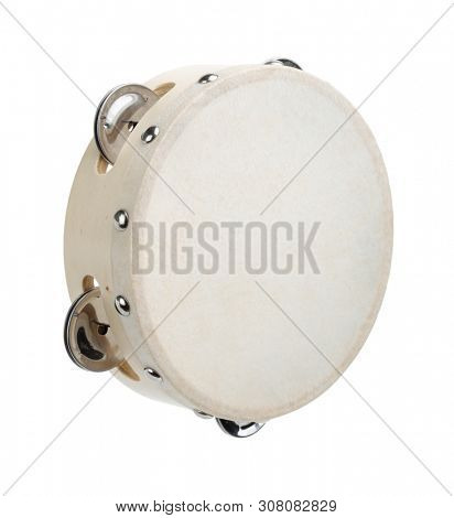 Classic tambourine made of wood and hide isolated on white