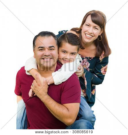 Happy Mixed Race Family Portrait Isolated on a White Background.
