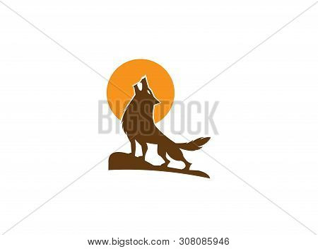 Wolf Howling On The Top Mountain And Moon For Logo Illustration Design