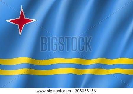 Waving National Flag Of Aruba Island In Caribbean Sea. Patriotic Symbol In Official Country Colors.