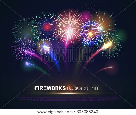 Brightly Colorful Fireworks On Twilight Background With Free Space For Text. Realistic Fireworks Exp