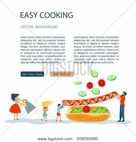 Easy Cooking Landing Page Website Template. Father Mother With Their Kids Preparing Hot Dog Together