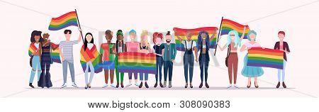 People Group Holding Rainbow Flag Lgbt Pride Festival Concept Mix Race Gays Lesbians Crowd Celebrati