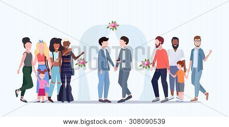 Couple Newly Weds Gays Standing Behind Floral Arch Same Gender Happy Married Homosexual Family Weddi