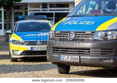 Peine / Germany - June 22, 2019: German Police Cars Stands On A Public Event, Day Of The Uniform In