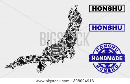 Vector Handmade Combination Of Honshu Island Map And Corroded Stamp Seals. Mosaic Honshu Island Map