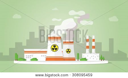 Nuclear Power Plant Technology Resources Alternative With Big Reactor Building On The City Area - Ve