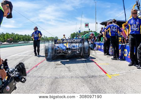 June 22, 2019 - Elkhart Lake, Wisconsin, USA: ALEXANDER ROSSI (27) of the United States prepares to qualify for the REV Group Grand Prix at Road America in Elkhart Lake, Wisconsin.