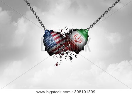 Iran Us Middle East Clash As A Usa Or United States Crisis In The Persian Gulf Concept As An America