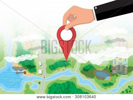 Location Pin In Hand. Suburban Map With Houses With Car, Boats, Trees, Road, River, Forest, Lake And