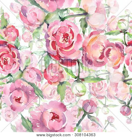 Bouquet With Peony Floral Botanical Flowers. Watercolor Background Illustration Set. Seamless Backgr
