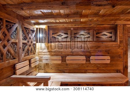 Handmade Bath In The Spa Complex. The Bath Is Trimmed With Planks And Hay.