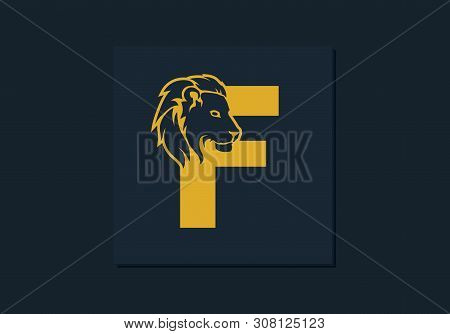 Lion Head Inside Letter F. Abstract, Creative Emblem For Logotype, Brand Identity, Company, Corporat