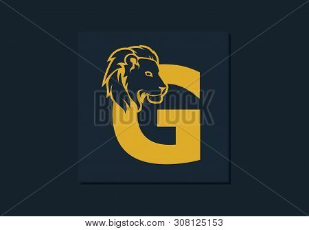 Lion Head Inside Letter G. Abstract, Creative Emblem For Logotype, Brand Identity, Company, Corporat
