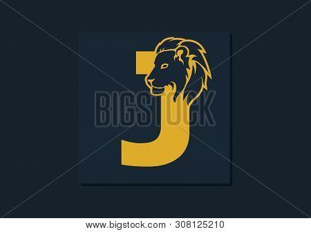 Lion Head Inside Letter J. Abstract, Creative Emblem For Logotype, Brand Identity, Company, Corporat