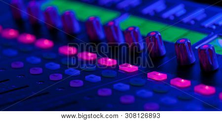 Control Panel With Bright Buttons To Control The Sound Level At Various Events