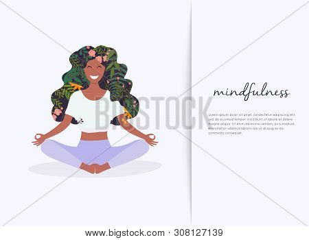 Girl With Flower Hair In Gyan Mudra Yoga Lotus Pose Exercise. Meditation Health Benefits For Body, M