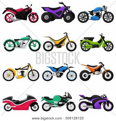 Motorcycle Vector Motorbike And Motoring Cycle Ride Transport Chopper Illustration Motorcycling Set