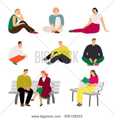 Resting People. Sitting And Relaxing Casual Men And Women Vector Illustration, Variety Rested Charac