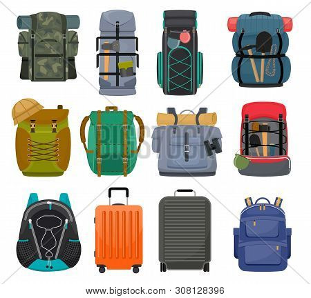 Backpack Camp Vector Backpacking Travel Bag With Tourist Equipment In Hiking Camping And Climbing Sp