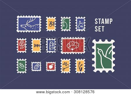 Collection Of Postage Stamps With Animals, Birds, Flowers And Fruits Isolated On Dark Background. Ph