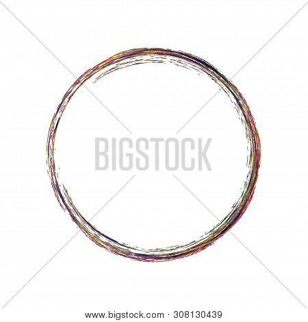 Brush Stroke Enso Design. Black And Rainbow Colors Circle. Grange Round Element. Logo, Emblem Symbol