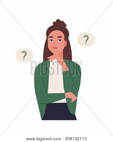 Curious Young Woman Solving Problem. Pensive Or Thinking Girl Surrounded By Thought Balloons With In