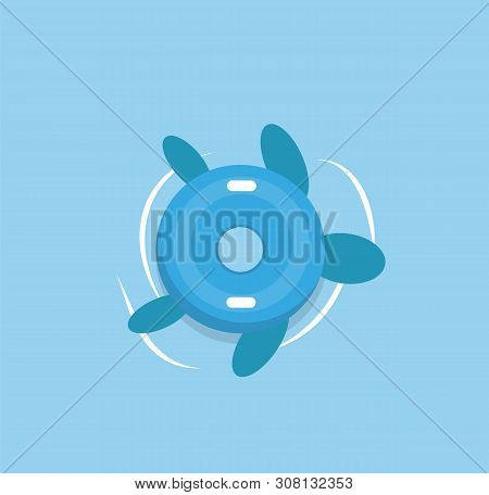 Inflatable Turtle In Sea Waters Isolated Cartoon Toy. Vector Swimming Equipment, Nautical Safety Aid