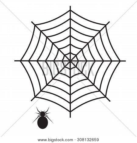 Spider Web Icon On White Background. Flat Style. Spider Web And Spider Icon For Your Web Site Design