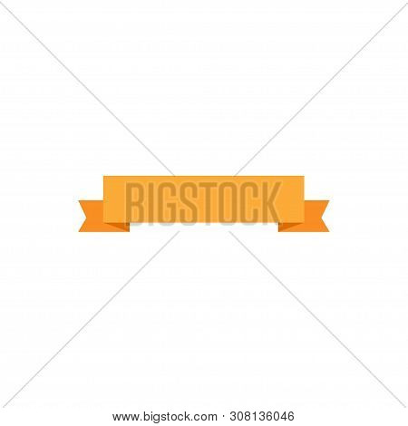 Ribbon Banner. Ribbon Banner Vector Icon. Ribbon Banner Orange Color Isolated On White Background